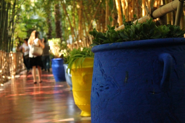 colourful pots surrounding the park