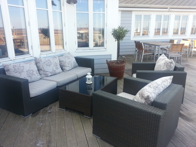 When weather allows it the chair and cushions are brought out to enjoy