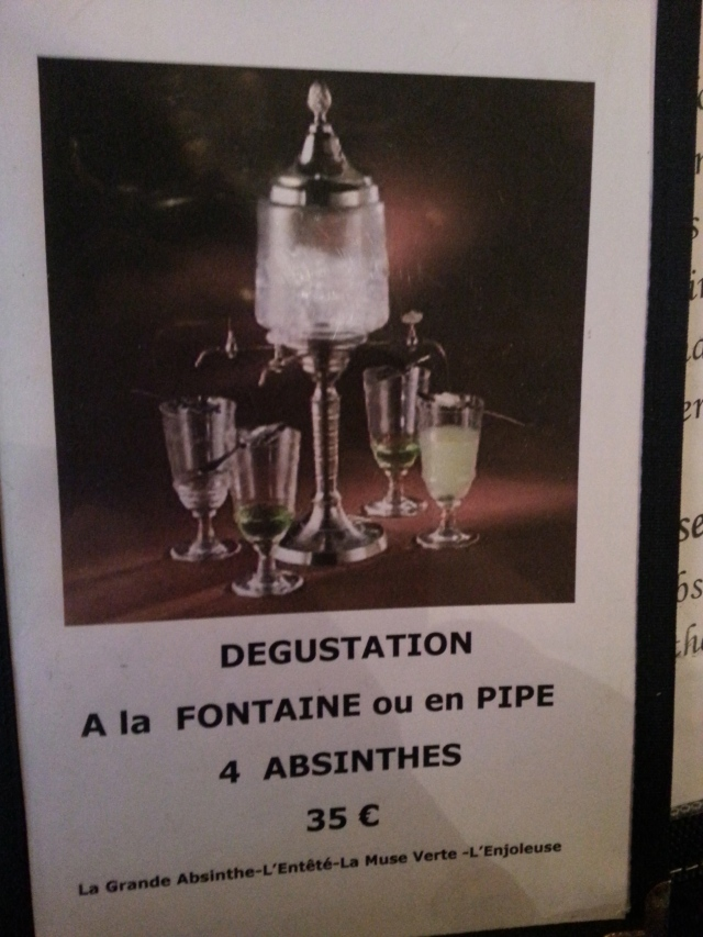 The restaurant has its own Absinthe menu for desert