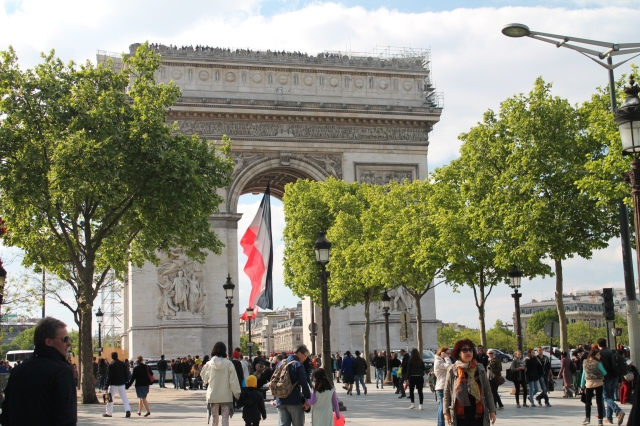 Arc de Thriomphe at the end of Champs-Elyseé