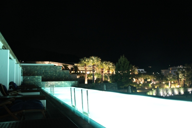 The private pool area by night.